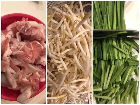シマダヤの上海焼きそばに入れるニラともやしと豚肉