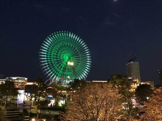 横浜みなとみらいのキレイな夜景とコスモワールドの観覧車