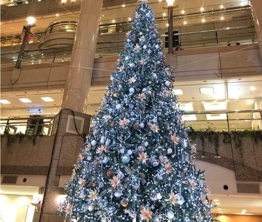 横浜みなとみらいにあるランドマークタワーのクリスマスツリー