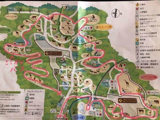 多摩動物公園の地図