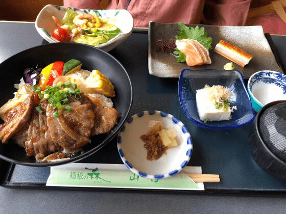 箱根にある湯の里おかだのやまびこで食べた和牛ステーキ丼セット