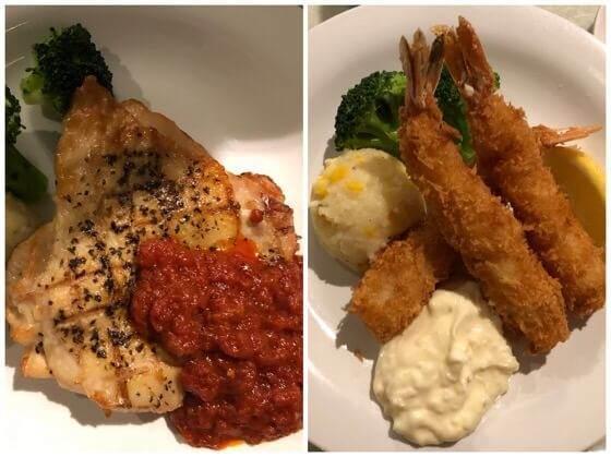 ディズニランドのプラザパビリオンレストランで食べたチキンのソテーとエビフライ