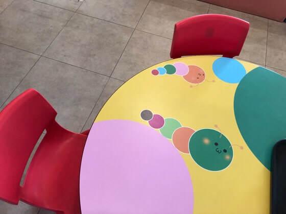 相模原市健康文化センターの幼児コーナーそばの子ども用の机とイス
