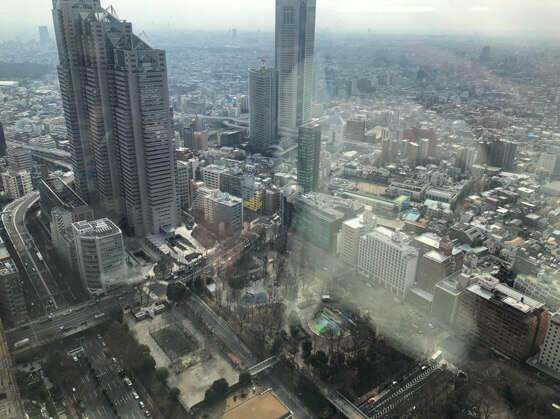 新宿都庁の展望台にから見える景色