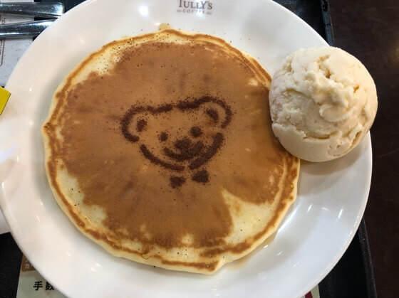 タリーズのキッズメニューのベアフルパンケーキ