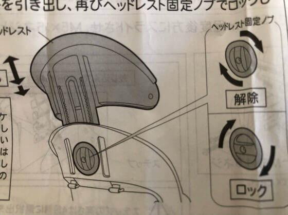 OGKチャイルドシート【RBC-011DX3】のヘッドレストの説明