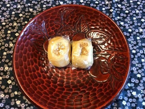箱根湯本にある箱根水明荘のお茶請けの丸嶋まんじゅう