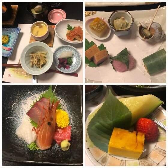 箱根湯本にある箱根水明荘の部屋で食べた夕飯