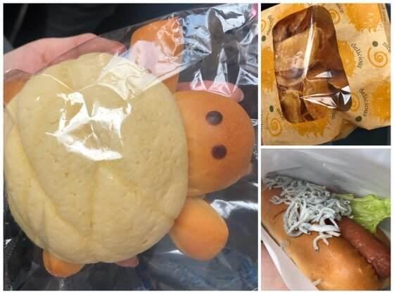 新江ノ島水族館のオーシャンカフェのシラスホットドッグとカメロンパンと自家製厚切りチップス