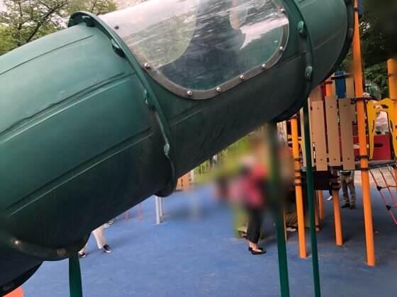 新宿中央公園にあるちびっこ広場の透明な筒のすべり台