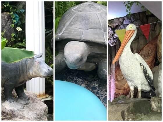 伊豆熱川温泉ホテルカターラにあるジャングルスパパウのなかの動物たち