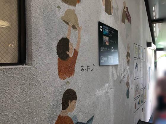 伊豆熱川温泉ホテルカターラのジャングルスパとプールを繋ぐ廊下に描いてある絵