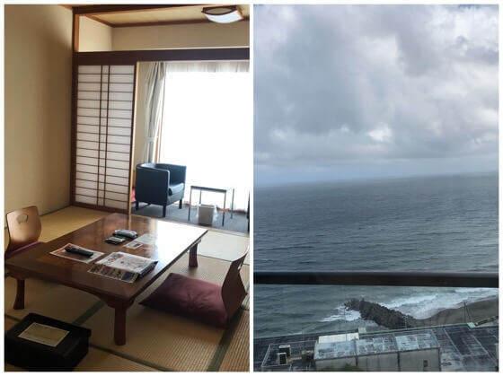 伊豆熱川温泉ホテルカターラのスタンダートな和室をオーシャンビューの景色