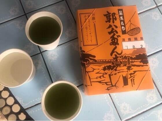 岩手県一関市の厳美渓のかっこうだんごとお茶