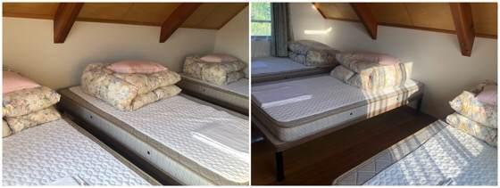 岩手県一関市にある大東ふるさと分校のコテージの二階の寝室