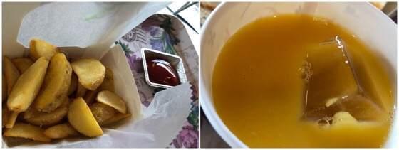 箱根強羅にある銀かつ工房のポテトとオレンジジュース