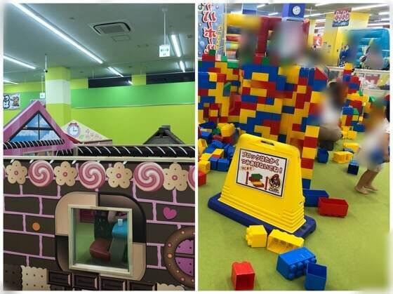 ファンタジーキッズリゾート港北店にあるトイ広場のお菓子の家と大きなレゴブロック