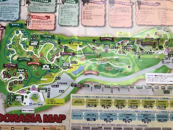 ズーラシアの園内マップ