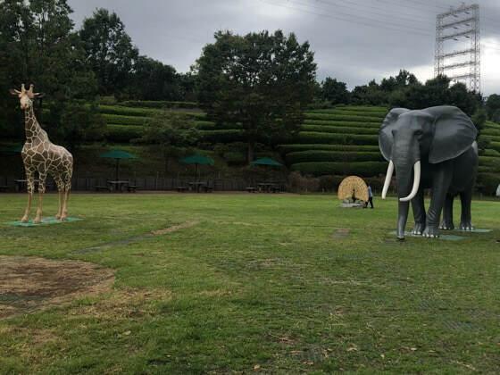ズーラシアのころころ広場にある象やゴリラの置物