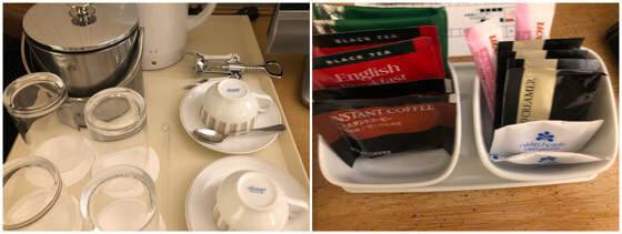 グランドニッコー東京台場のスーペリアツインにあるお茶とグラスとカップ