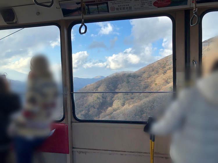 箱根園の駒ヶ岳ロープウェイの中からみえる景色