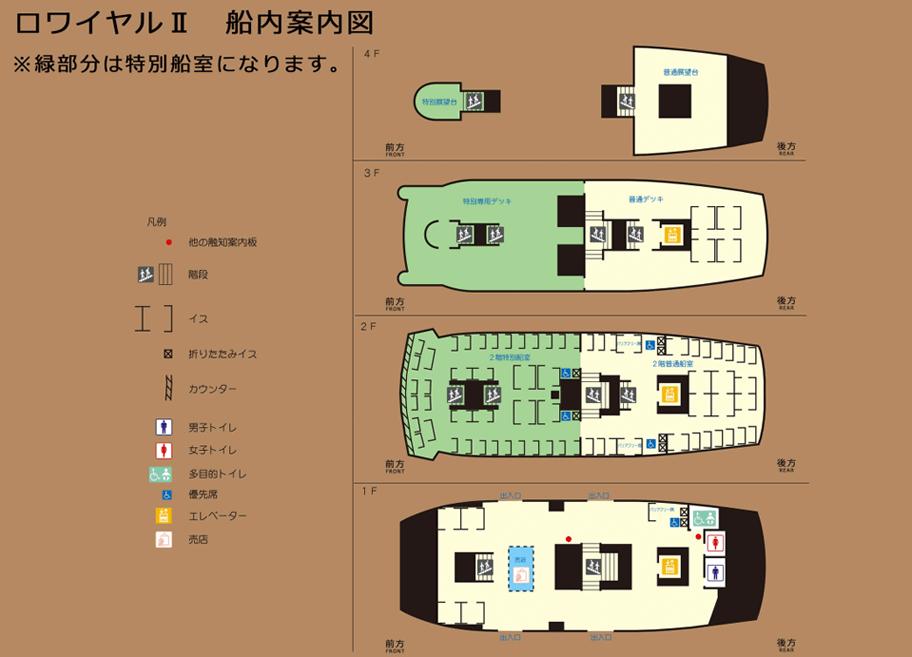 箱根海賊船ロワイヤルの船内図