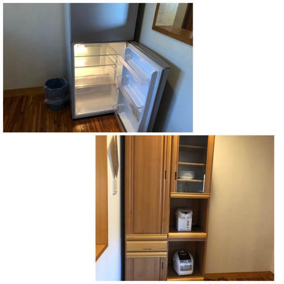 清泉寮デラックスコテージの冷蔵庫と食器棚