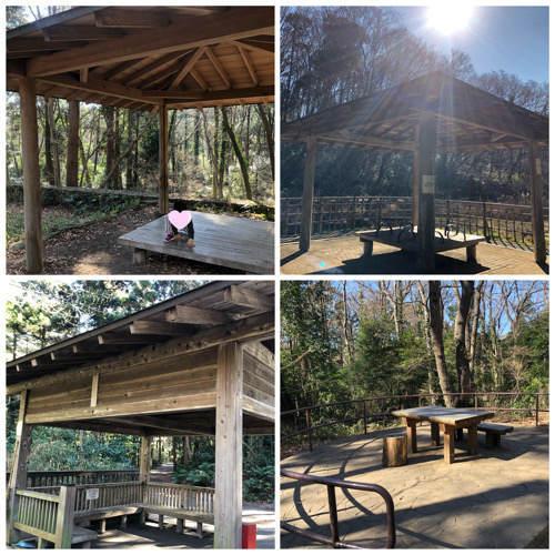 座間谷戸山公園にあるベンチや屋根付きの休憩処をまとめた写真