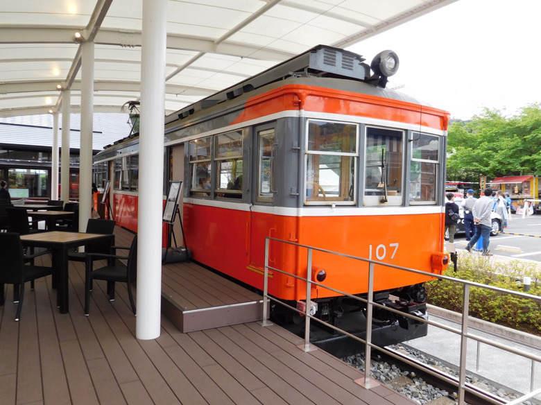小田原鈴廣かまぼこの里にあるえれんなごっそcafe107の箱根登山鉄道