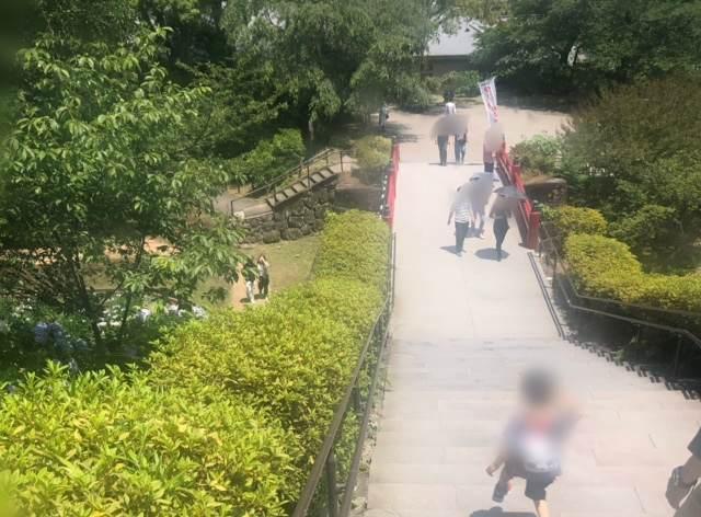 小田原城天守閣から忍者館へ渡る橋