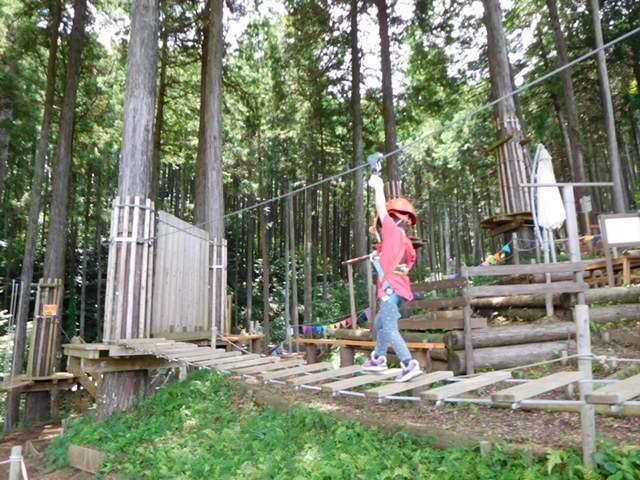 フォレストアドベンチャー小田原のキッズコースでゆらゆら揺れる橋を渡る子ども