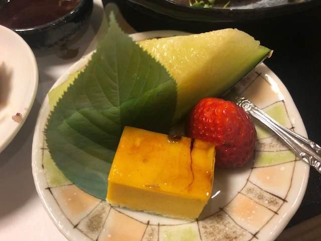 箱根湯本にある箱根水明荘の夕食のデザート