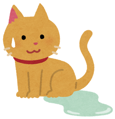 猫が布団の上でおしっこ