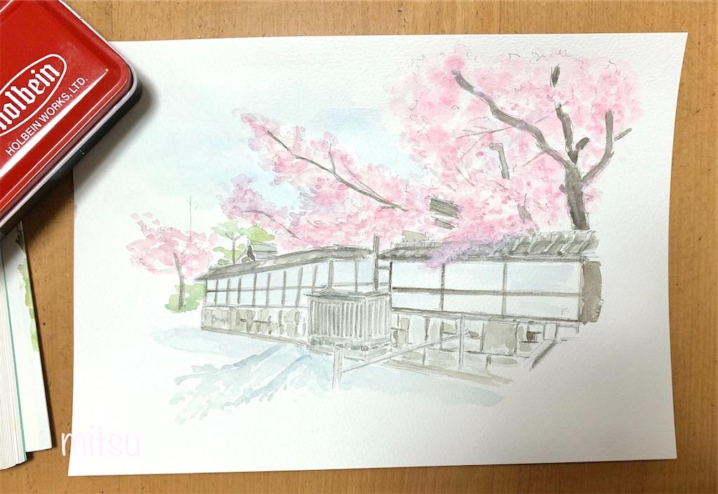 タンポン画法で描いてみた桜の風景