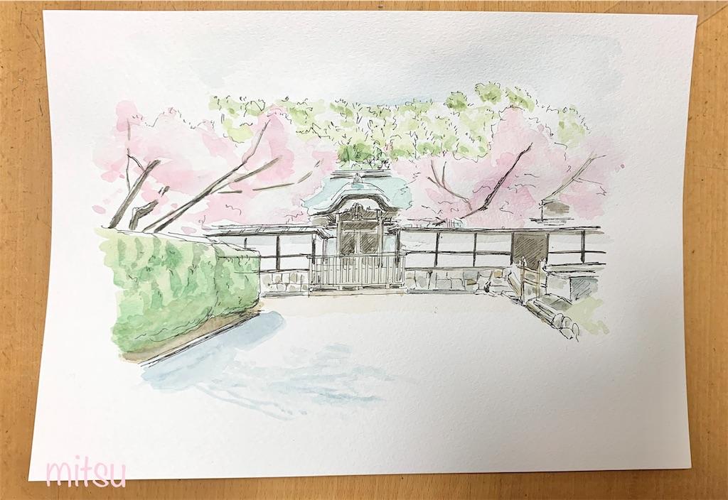にじみ画法で描いてみた桜の風景