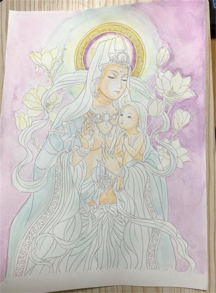 「美しい仏画編」より慈母観音さまの塗り絵