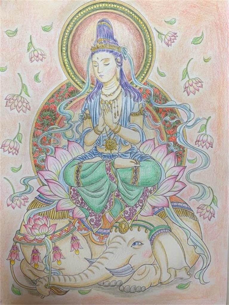 美しい仏画編より白象に乗った【普賢菩薩さま】の塗り絵