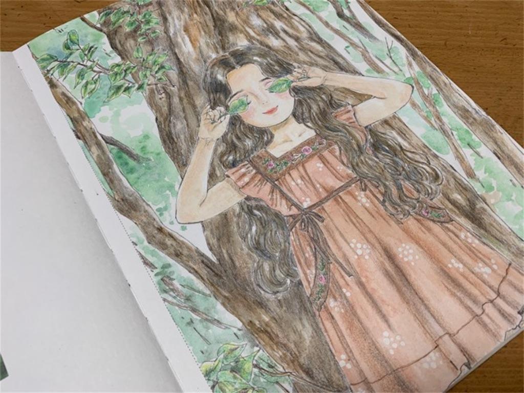 『エポルの森の少女』の《葉っぱのサングラス》の塗り絵