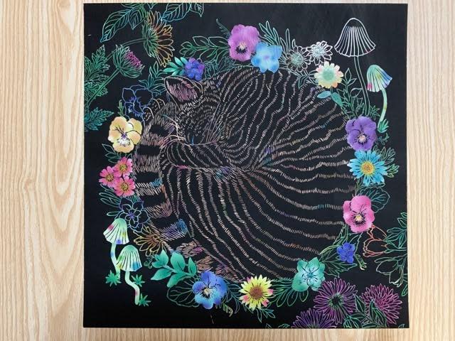 『猫と花と可愛いもの』のスクラッチアート