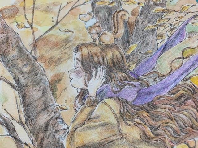 『エポルの森の少女』をダイソーの水彩色鉛筆で塗ってみた