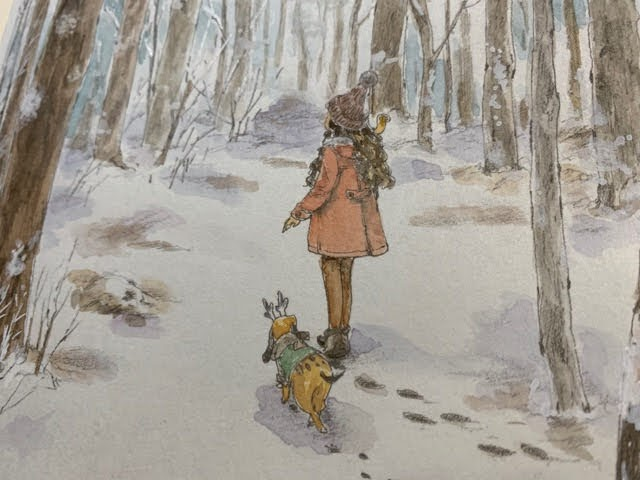 水彩絵の具と白ペンで塗った「エポルの森の少女」より冬の森