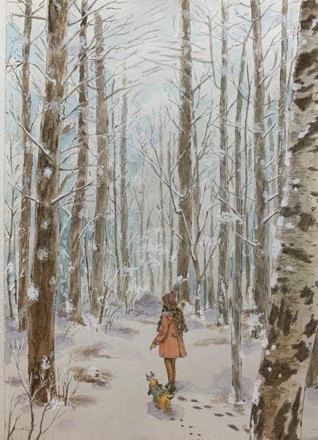水彩絵の具と白ペンで塗った「エポルの森の少女」より冬の森のページ