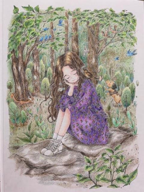『森の少女ひと休みしても大丈夫』より「森の音」の塗り絵