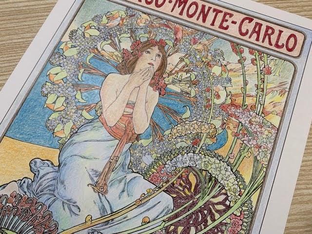 ミュシャの塗り絵「モナコ・モンテカルロ」を見本通りに塗ってみた