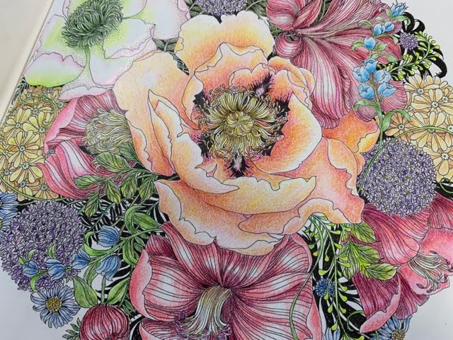 『FLORIBUNDA』よりプリズマカラーで022の7種類のお花の花束を塗ってみた