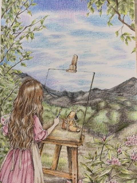 『森の少女ひとやすみしても大丈夫』より「森の風景とともに」の塗り絵