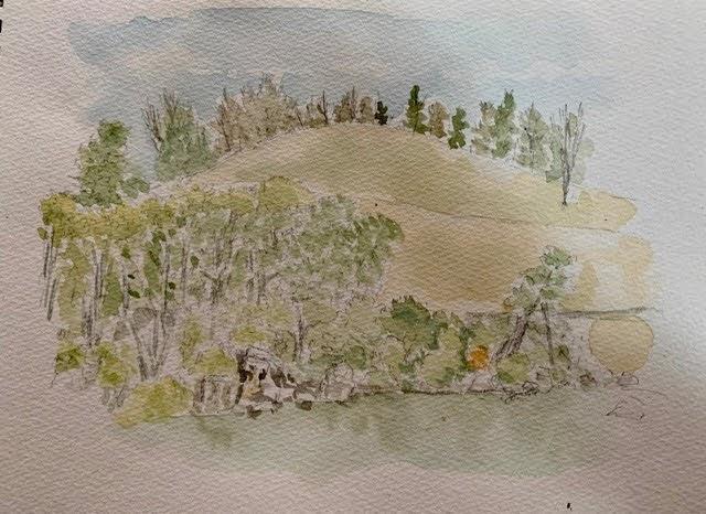 万博記念公園の日本庭園の休憩所からの水彩スケッチ