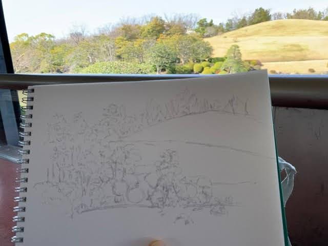万博記念公園の日本庭園の休憩所でスケッチ