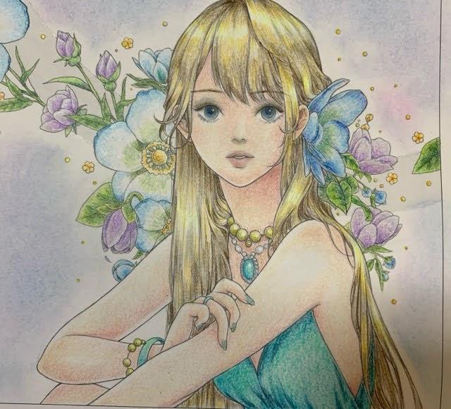 『mysticaぬり絵ブック』より青いドレスの少女をプリズマカラーで塗ってみた。