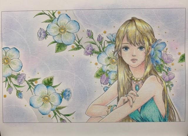 『mysticaぬり絵ブック』より青いドレスの少女